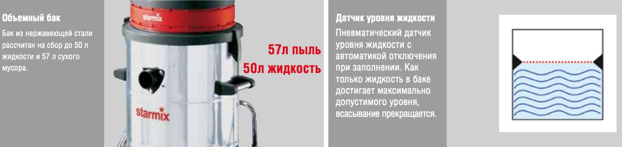 Промышленный пылесос моторами Starmix GS 3078 PZ